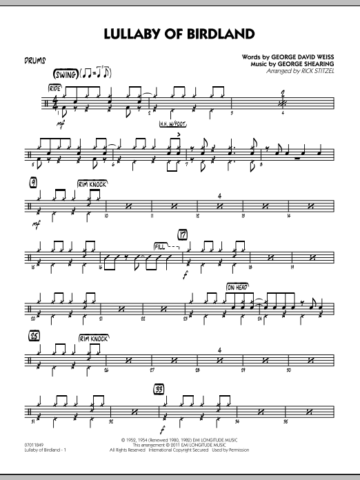 Rick Stitzel Lullaby Of Birdland - Drums sheet music preview music notes and score for Jazz Ensemble including 2 page(s)