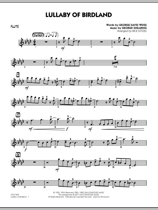 Rick Stitzel Lullaby Of Birdland - Flute sheet music preview music notes and score for Jazz Ensemble including 2 page(s)