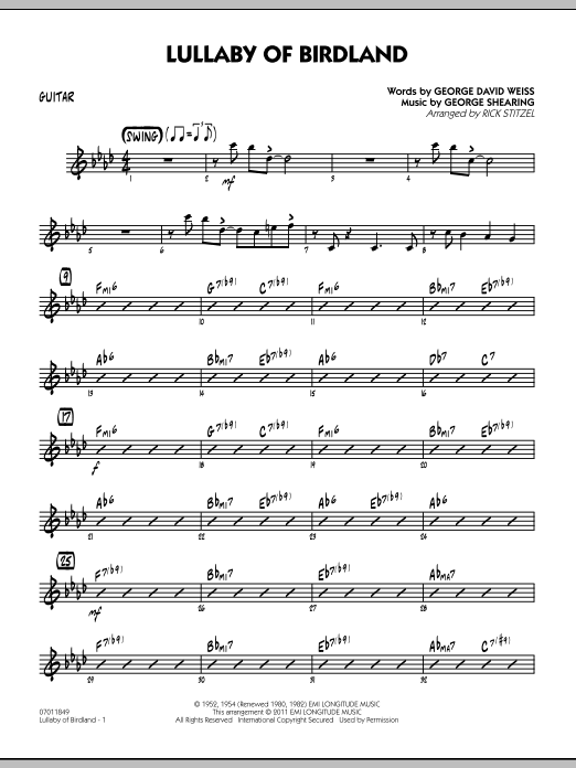 Rick Stitzel Lullaby Of Birdland - Guitar sheet music preview music notes and score for Jazz Ensemble including 2 page(s)