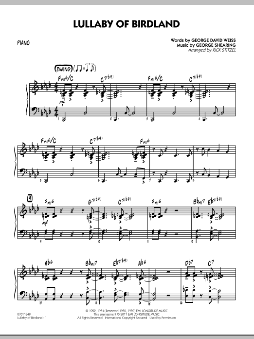 Rick Stitzel Lullaby Of Birdland - Piano sheet music preview music notes and score for Jazz Ensemble including 4 page(s)