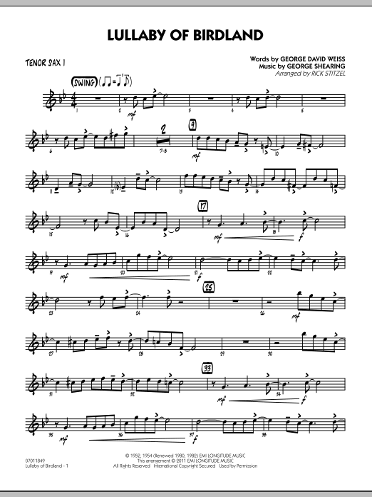 Rick Stitzel Lullaby Of Birdland - Tenor Sax 1 sheet music preview music notes and score for Jazz Ensemble including 2 page(s)