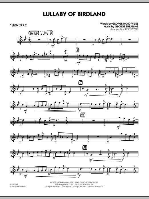 Rick Stitzel Lullaby Of Birdland - Tenor Sax 2 sheet music preview music notes and score for Jazz Ensemble including 2 page(s)