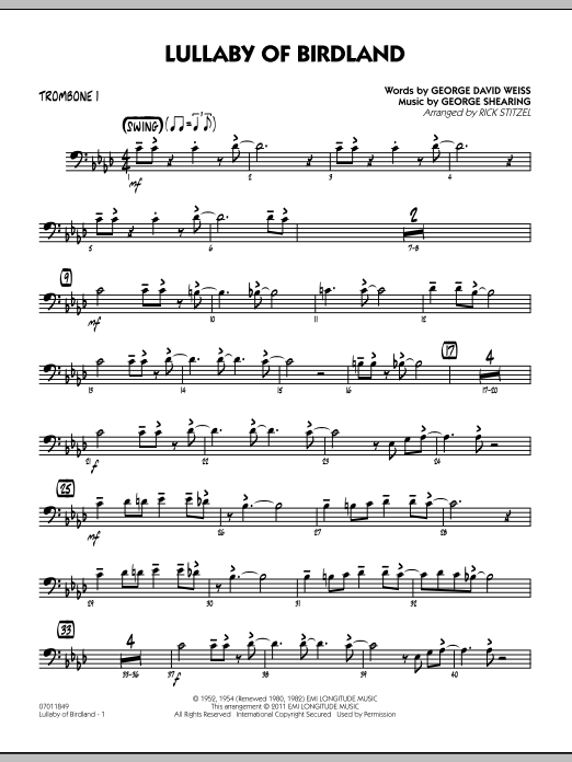 Rick Stitzel Lullaby Of Birdland - Trombone 1 sheet music preview music notes and score for Jazz Ensemble including 2 page(s)