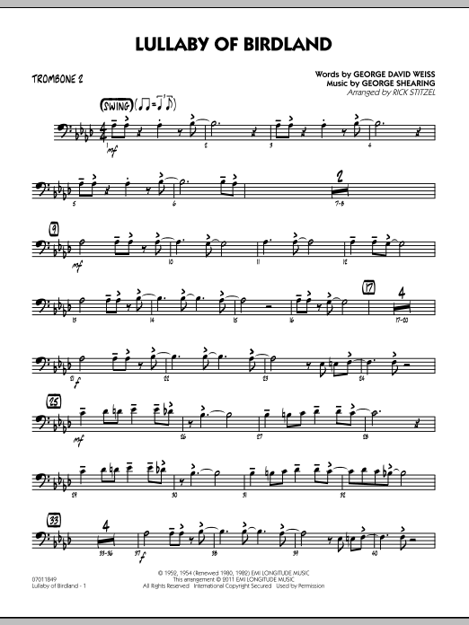 Rick Stitzel Lullaby Of Birdland - Trombone 2 sheet music preview music notes and score for Jazz Ensemble including 2 page(s)