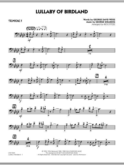 Rick Stitzel Lullaby Of Birdland - Trombone 3 sheet music preview music notes and score for Jazz Ensemble including 2 page(s)