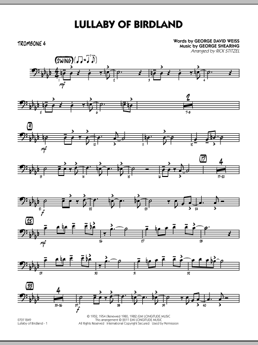 Rick Stitzel Lullaby Of Birdland - Trombone 4 sheet music preview music notes and score for Jazz Ensemble including 2 page(s)