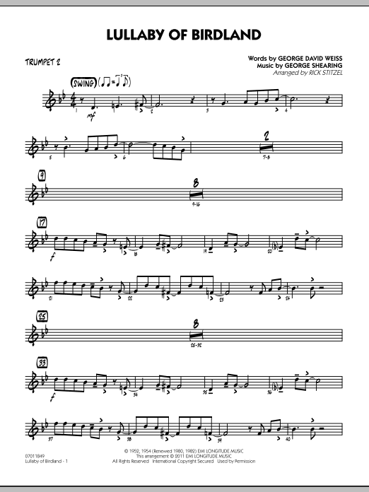 Rick Stitzel Lullaby Of Birdland - Trumpet 2 sheet music preview music notes and score for Jazz Ensemble including 2 page(s)