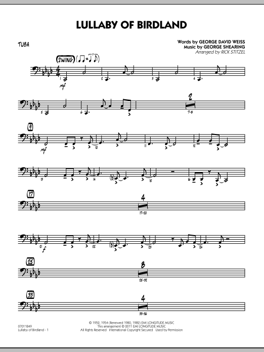Rick Stitzel Lullaby Of Birdland - Tuba sheet music preview music notes and score for Jazz Ensemble including 2 page(s)