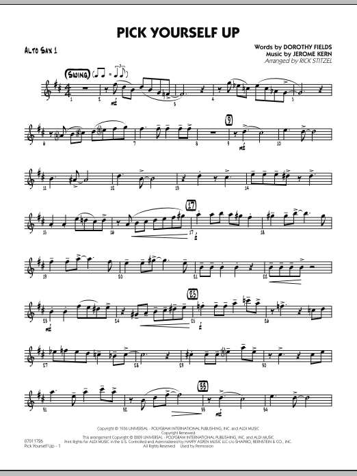 Rick Stitzel Pick Yourself Up - Alto Sax 1 sheet music preview music notes and score for Jazz Ensemble including 2 page(s)