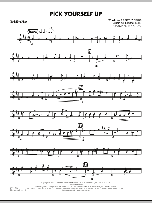 Rick Stitzel Pick Yourself Up - Baritone Sax sheet music preview music notes and score for Jazz Ensemble including 2 page(s)