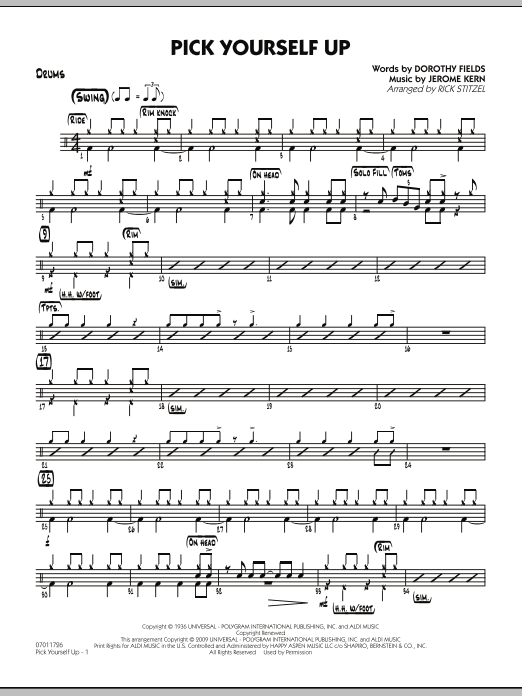 Rick Stitzel Pick Yourself Up - Drums sheet music preview music notes and score for Jazz Ensemble including 2 page(s)
