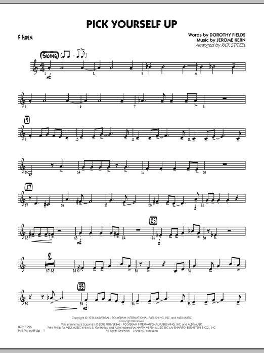 Rick Stitzel Pick Yourself Up - F Horn sheet music preview music notes and score for Jazz Ensemble including 2 page(s)