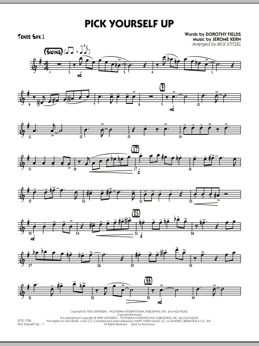 Rick Stitzel Pick Yourself Up - Tenor Sax 1 sheet music preview music notes and score for Jazz Ensemble including 2 page(s)