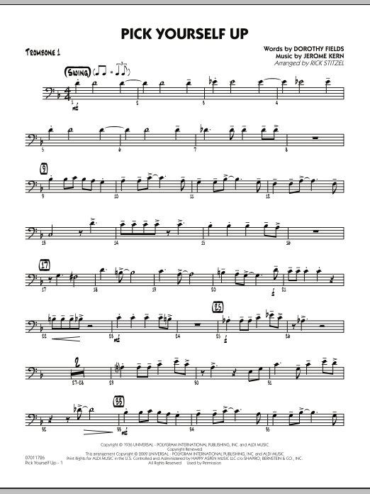 Rick Stitzel Pick Yourself Up - Trombone 1 sheet music preview music notes and score for Jazz Ensemble including 2 page(s)