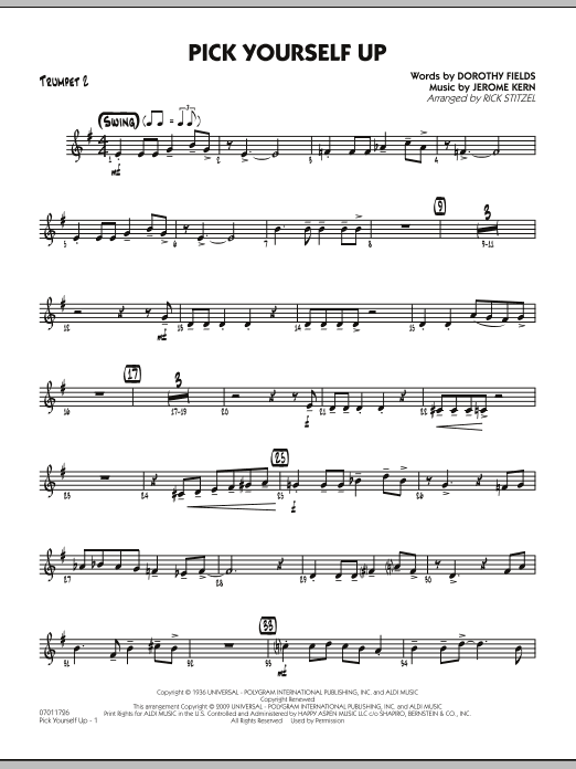 Rick Stitzel Pick Yourself Up - Trumpet 2 sheet music preview music notes and score for Jazz Ensemble including 2 page(s)