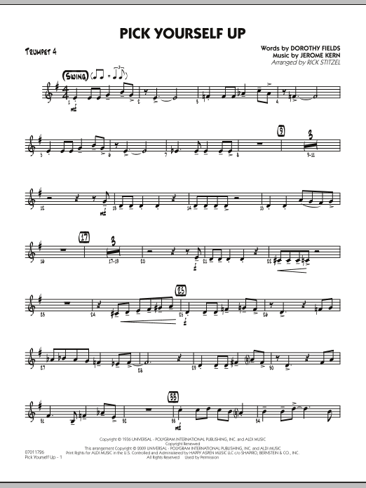 Rick Stitzel Pick Yourself Up - Trumpet 4 sheet music preview music notes and score for Jazz Ensemble including 2 page(s)