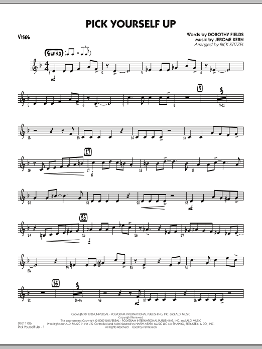 Rick Stitzel Pick Yourself Up - Vibes sheet music preview music notes and score for Jazz Ensemble including 2 page(s)