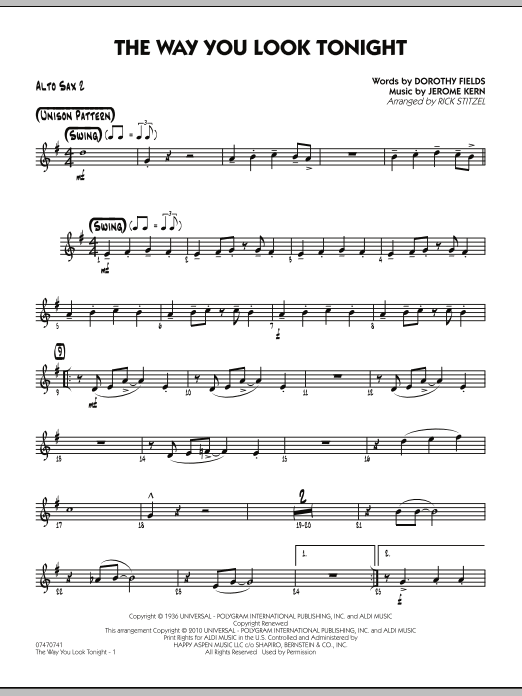 Rick Stitzel The Way You Look Tonight - Alto Sax 2 sheet music preview music notes and score for Jazz Ensemble including 2 page(s)