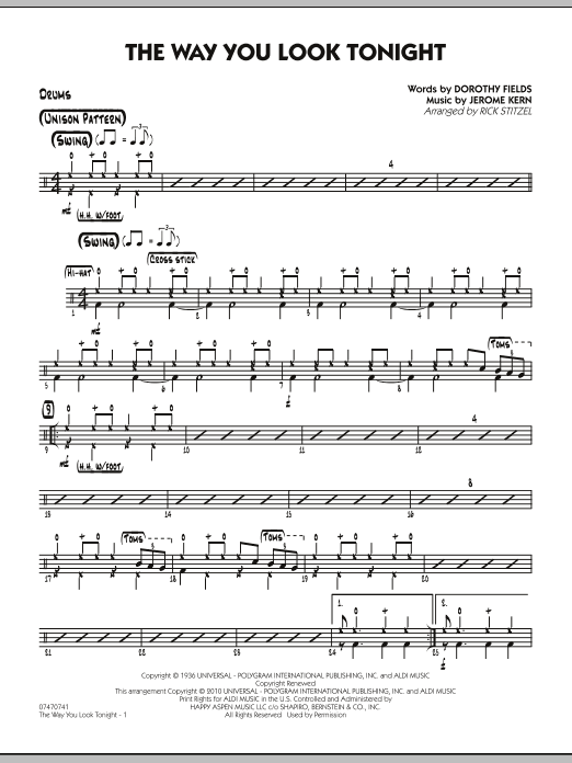 Rick Stitzel The Way You Look Tonight - Drums sheet music preview music notes and score for Jazz Ensemble including 2 page(s)