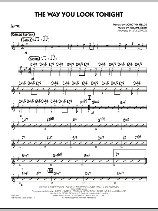 Rick Stitzel The Way You Look Tonight - Guitar sheet music preview music notes and score for Jazz Ensemble including 2 page(s)