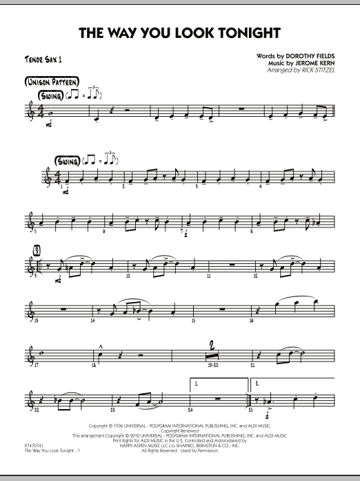 Rick Stitzel The Way You Look Tonight - Tenor Sax 1 sheet music preview music notes and score for Jazz Ensemble including 2 page(s)