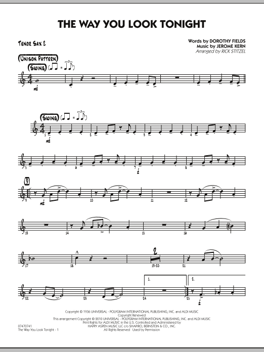 Rick Stitzel The Way You Look Tonight - Tenor Sax 2 sheet music preview music notes and score for Jazz Ensemble including 2 page(s)