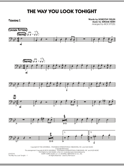 Rick Stitzel The Way You Look Tonight - Trombone 2 sheet music preview music notes and score for Jazz Ensemble including 2 page(s)