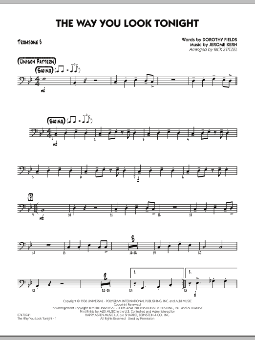 Rick Stitzel The Way You Look Tonight - Trombone 3 sheet music preview music notes and score for Jazz Ensemble including 2 page(s)