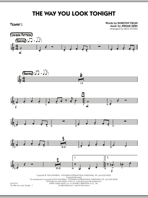 Rick Stitzel The Way You Look Tonight - Trumpet 1 sheet music preview music notes and score for Jazz Ensemble including 2 page(s)