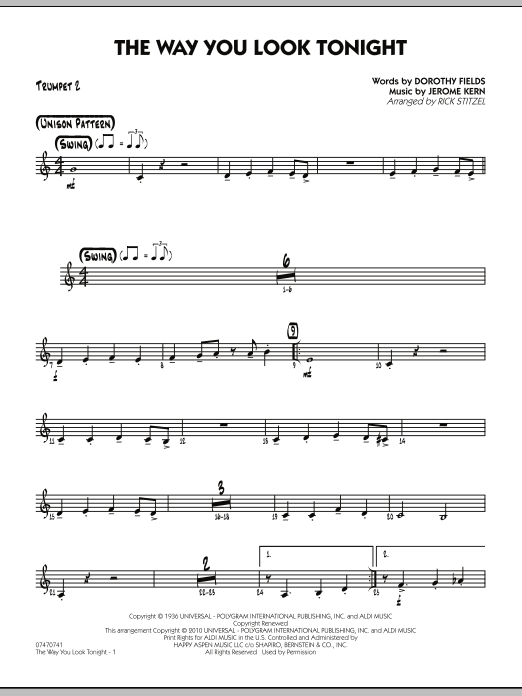 Rick Stitzel The Way You Look Tonight - Trumpet 2 sheet music preview music notes and score for Jazz Ensemble including 2 page(s)