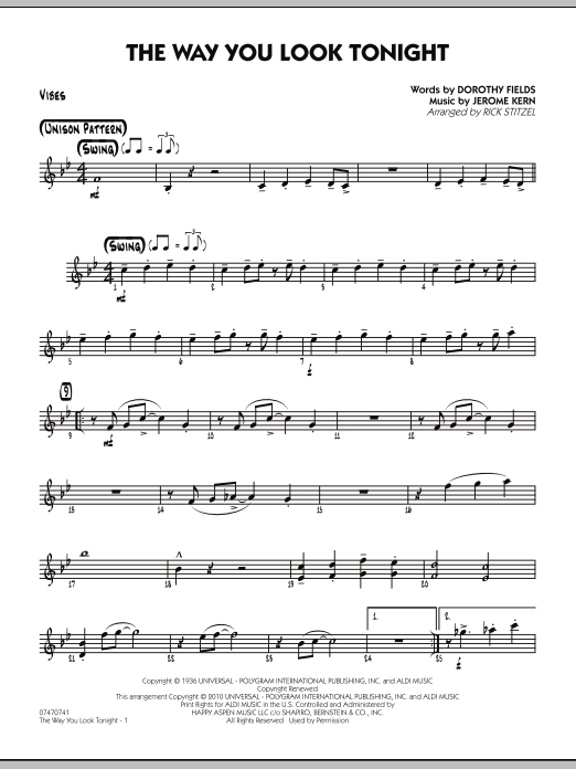 Rick Stitzel The Way You Look Tonight - Vibes sheet music preview music notes and score for Jazz Ensemble including 2 page(s)