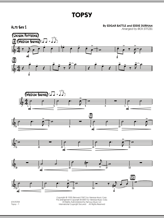 Rick Stitzel Topsy - Alto Sax 2 sheet music preview music notes and score for Jazz Ensemble including 2 page(s)