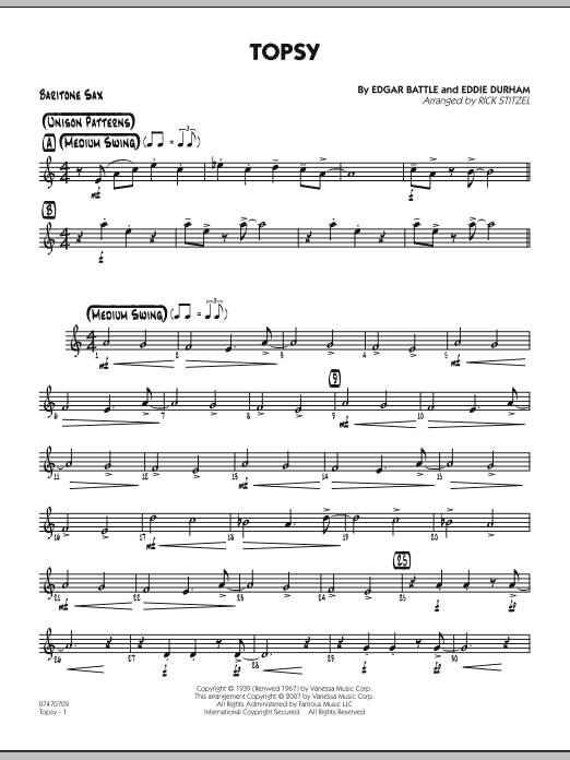 Rick Stitzel Topsy - Baritone Sax sheet music preview music notes and score for Jazz Ensemble including 2 page(s)