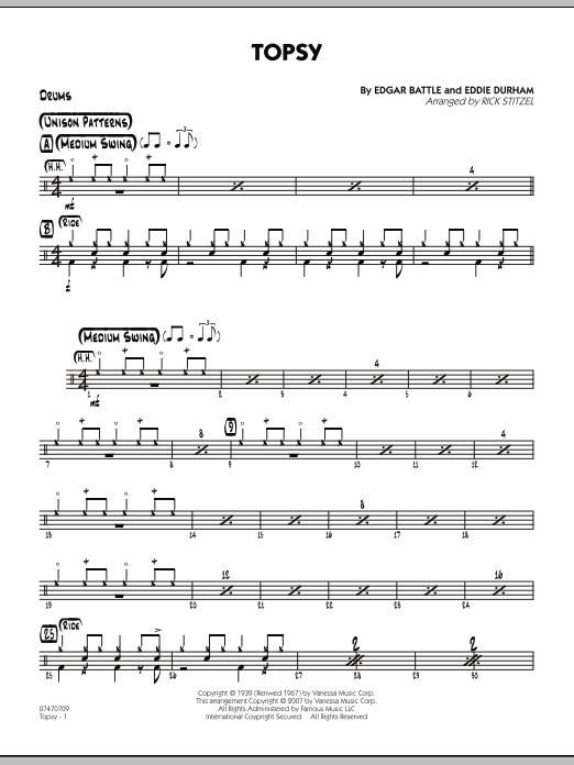 Rick Stitzel Topsy - Drums sheet music preview music notes and score for Jazz Ensemble including 2 page(s)