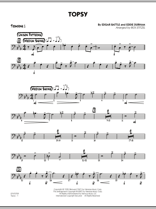 Rick Stitzel Topsy - Trombone 1 sheet music preview music notes and score for Jazz Ensemble including 2 page(s)
