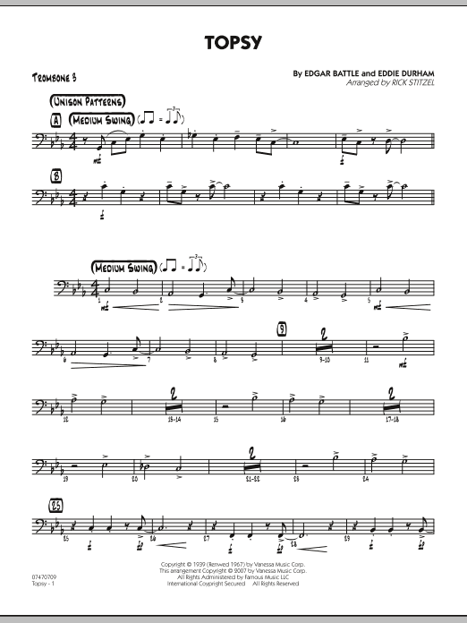 Rick Stitzel Topsy - Trombone 3 sheet music preview music notes and score for Jazz Ensemble including 2 page(s)