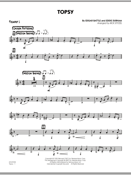 Rick Stitzel Topsy - Trumpet 1 sheet music preview music notes and score for Jazz Ensemble including 2 page(s)