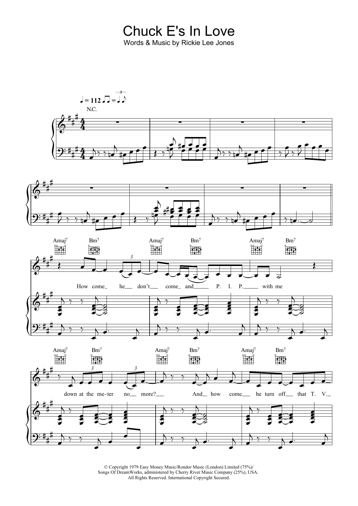 Rickie Lee Jones Chuck E's In Love sheet music preview music notes and score for Lyrics & Chords including 3 page(s)