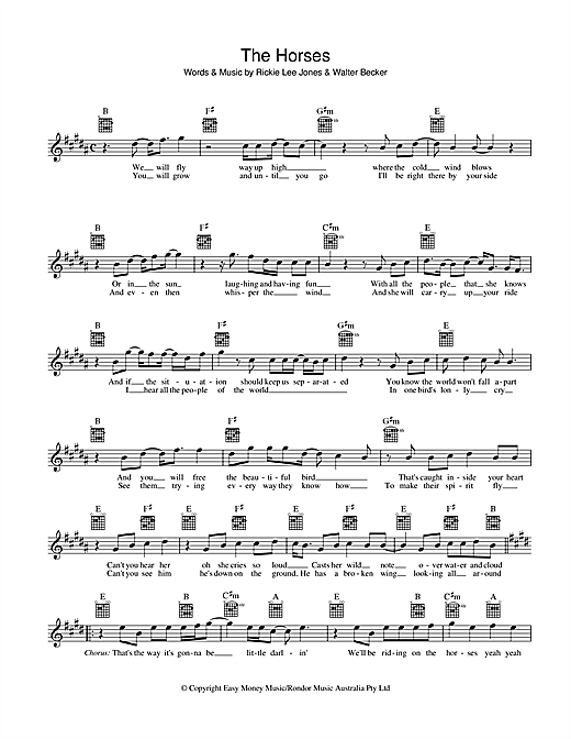 Rickie Lee Jones The Horses sheet music preview music notes and score for Melody Line, Lyrics & Chords including 2 page(s)