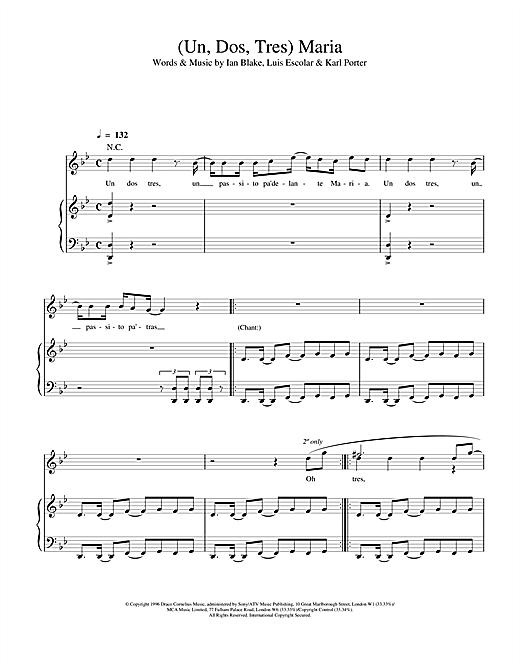 Ricky Martin (Un, Dos, Tres) Maria sheet music notes and chords