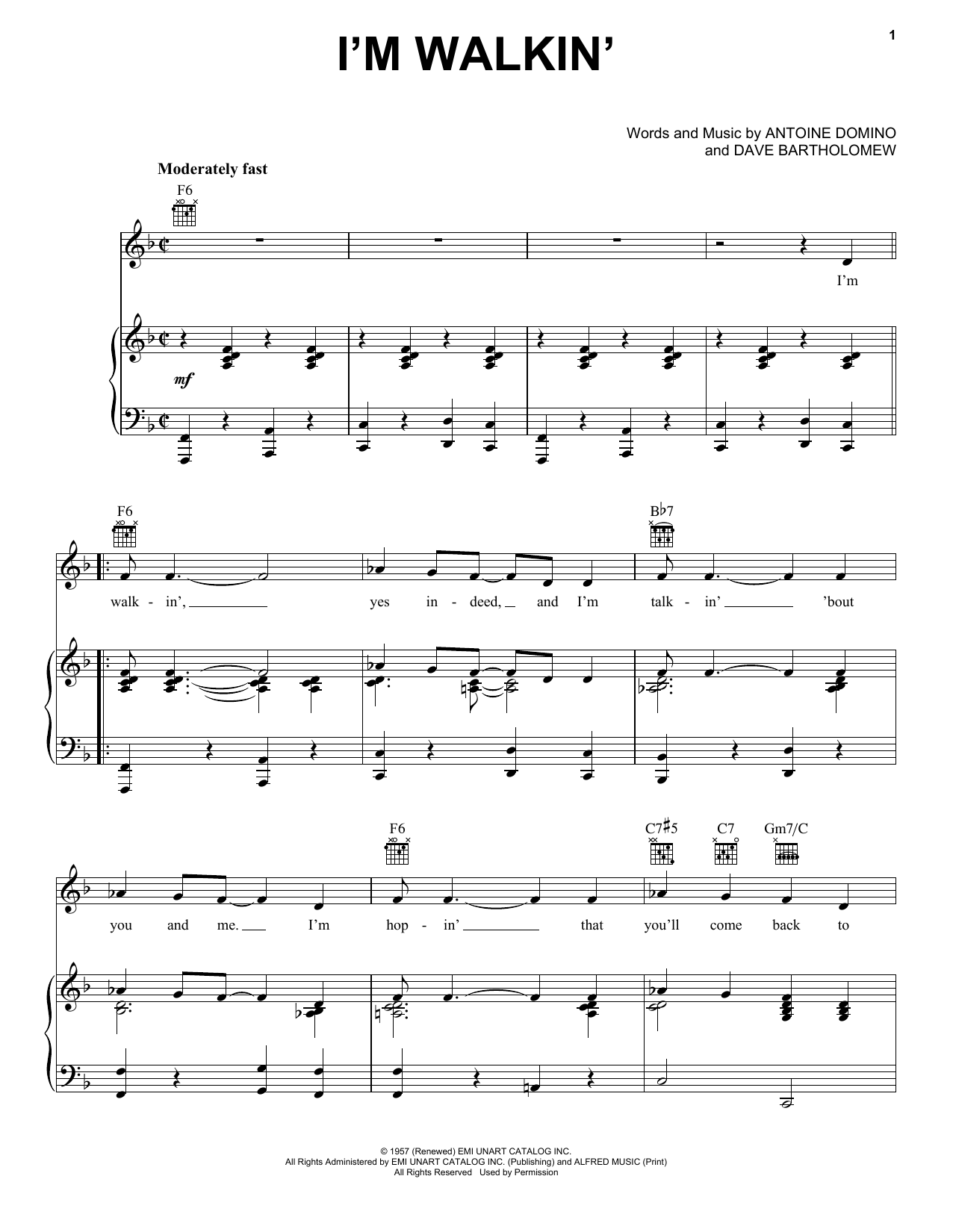 Ricky Nelson I'm Walkin' sheet music notes and chords