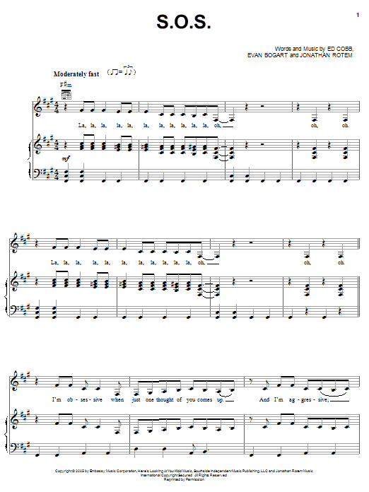 Rihanna S.O.S. sheet music preview music notes and score for Piano, Vocal & Guitar (Right-Hand Melody) including 9 page(s)