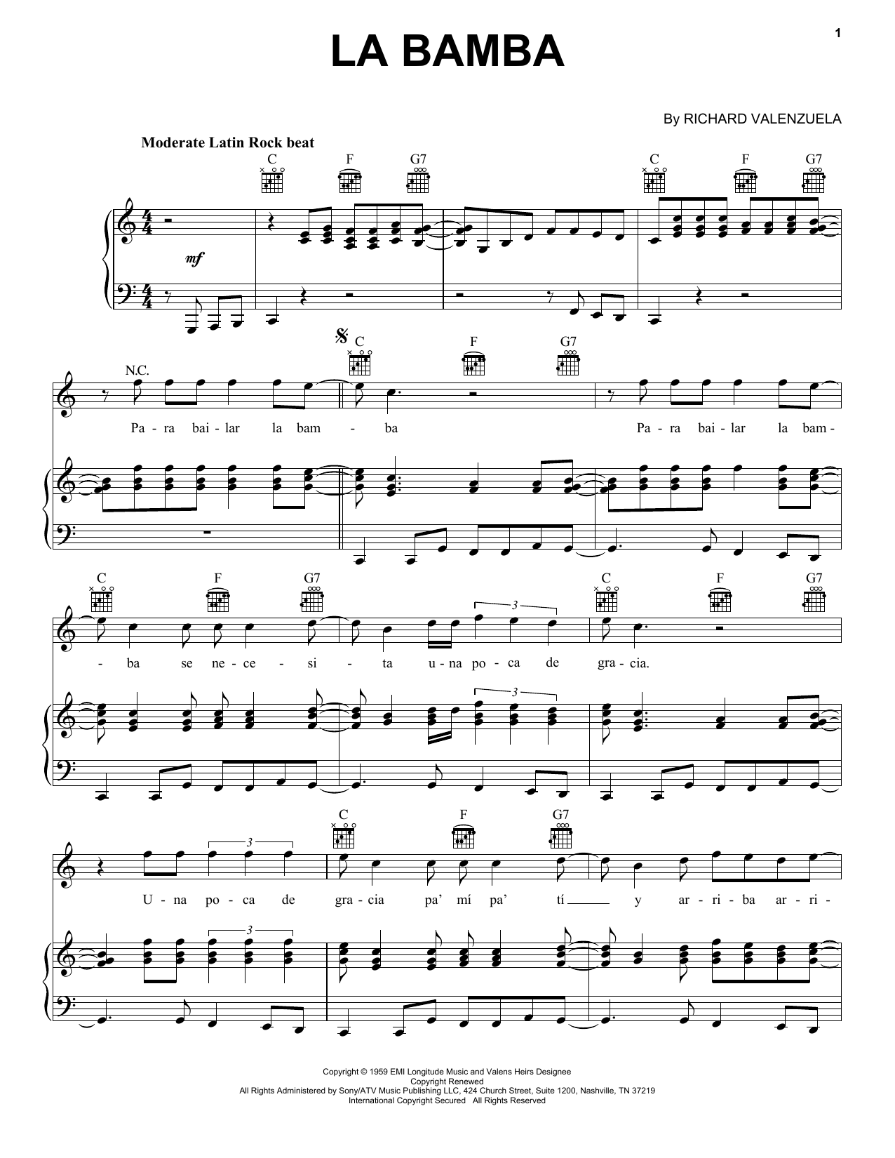 Ritchie Valens La Bamba sheet music preview music notes and score for Piano including 3 page(s)
