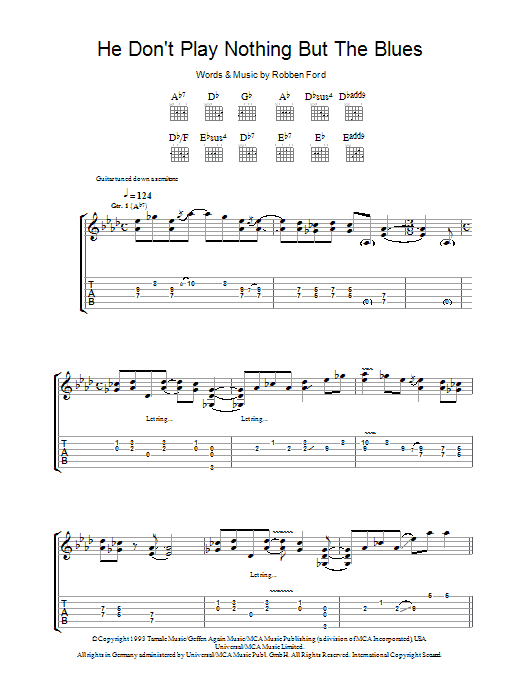 Robben Ford He Don't Play Nothing But The Blues sheet music preview music notes and score for Guitar Tab including 11 page(s)