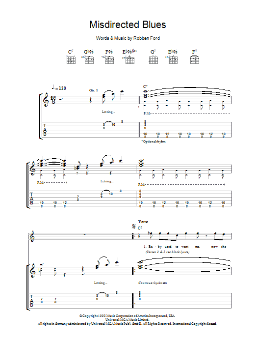 Robben Ford Misdirected Blues sheet music preview music notes and score for Guitar Tab including 9 page(s)