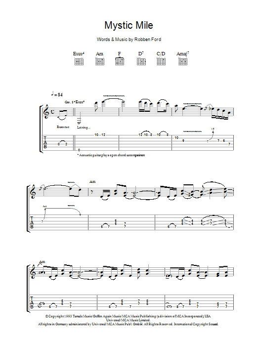 Robben Ford Mystic Mile sheet music preview music notes and score for Guitar Tab including 9 page(s)