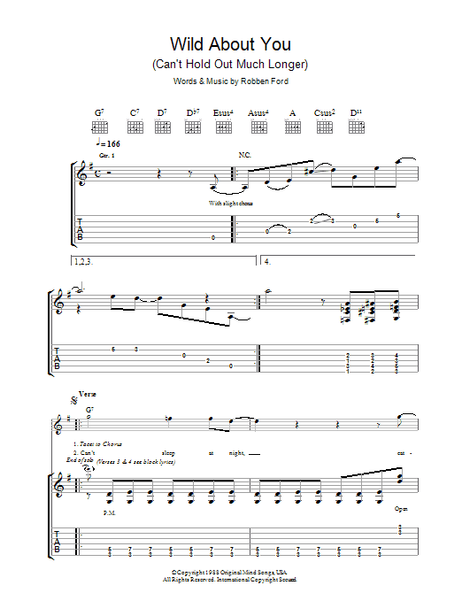 Robben Ford Wild About You (Can't Hold Out Much Longer) sheet music preview music notes and score for Guitar Tab including 9 page(s)