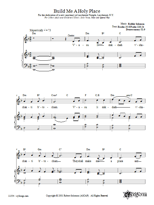 Robbie Solomon Build Me a Holy Place sheet music preview music notes and score for 2-Part Choir including 10 page(s)