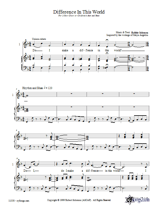 Robbie Solomon Difference In This World sheet music preview music notes and score for 2-Part Choir including 10 page(s)