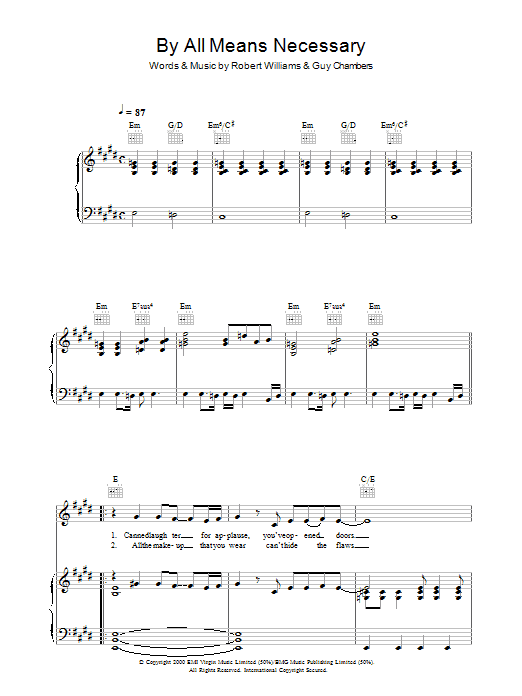 Robbie Williams By All Means Necessary sheet music preview music notes and score for Piano, Vocal & Guitar (Right-Hand Melody) including 8 page(s)